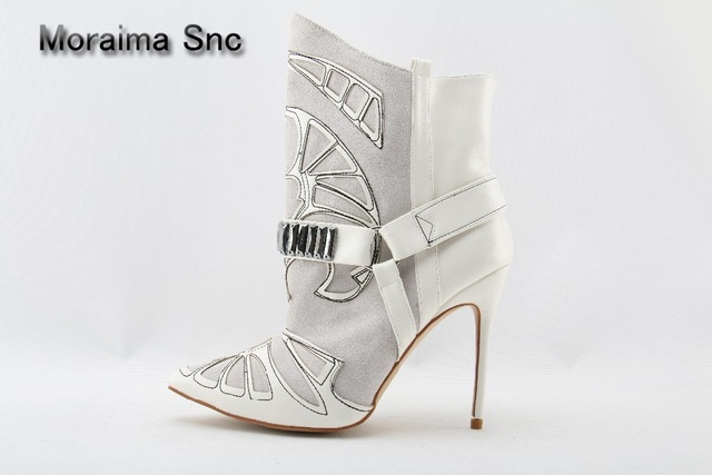 Moraima Snc brand Suede Leather Pointed Toe Ankle Boots Stiletto Strappy Lady Short Boots Fashion Lady High Heels Studded Boots