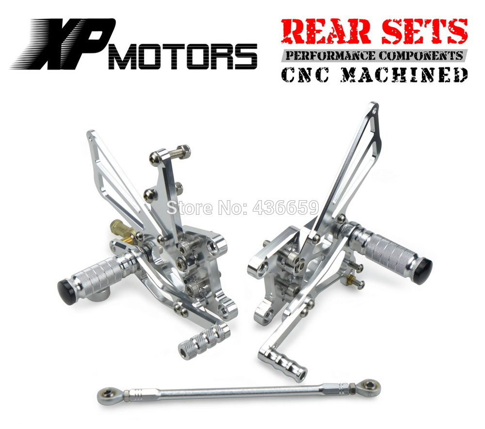 Silver CNC Billet Race Adjustable Rearset Foot pegs Rear