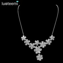LUOTEEMI Brand New Luxurious Sweet Elegant Clear AAA Cubic Zirconia 9 Flowers Pendant Necklace Bridal Wedding Jewelry Gold-Color(China)