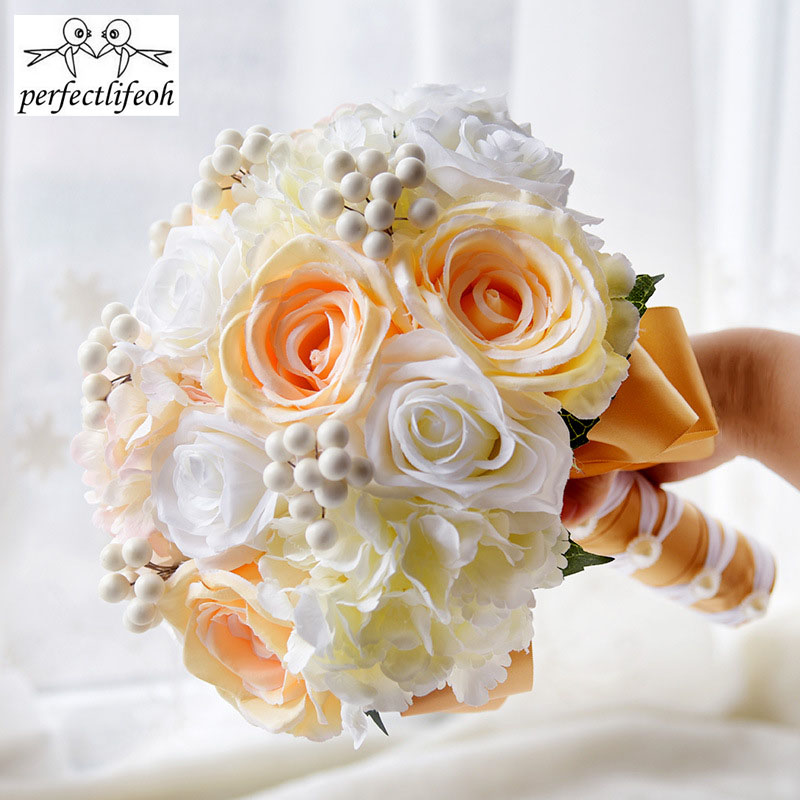 perfectlifeoh Artificial Roses Peony Handmade Bride Holding Flower Bouquet
