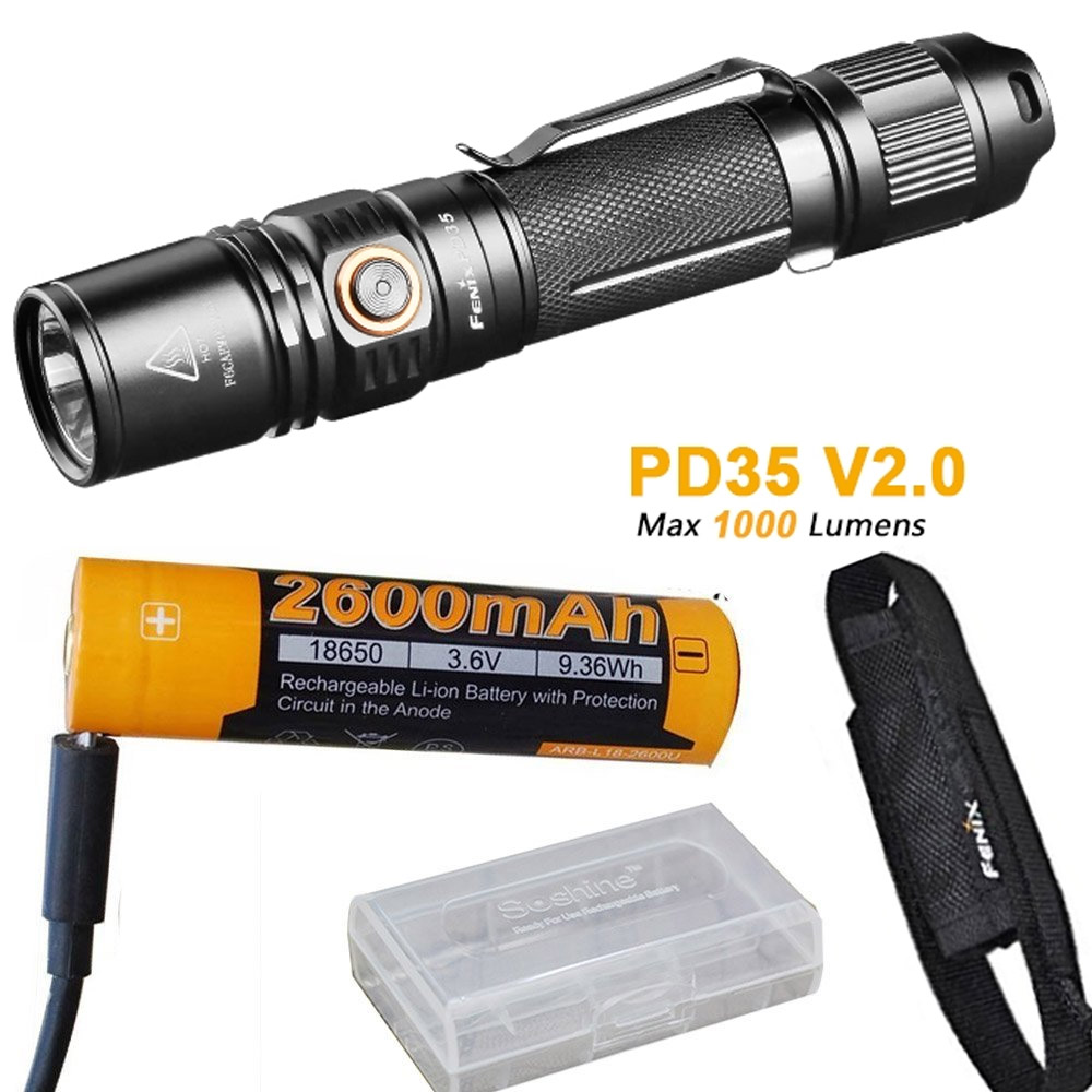 Фото Fenix PD35 V2.0 2018 Upgrade 1000 Lumen Flashlight with ith ARB-L18-2600U 18650 Battery,Charge Cable,holster,battery case