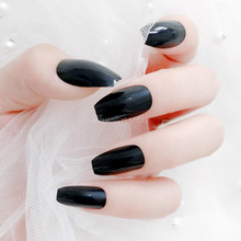 24pcs Long Black Ballerina Fake Nails Coffin White Clear Acrylic Nail Tips Extension Removable Artificial False Nails Adhesive