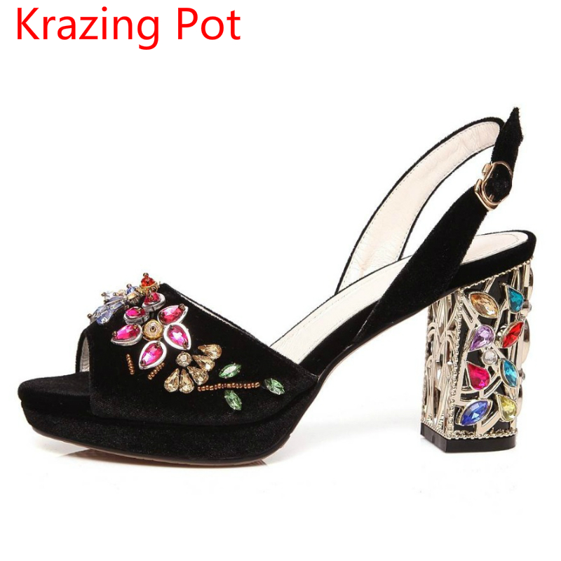 ФОТО Superstar Slingback Velvet Flowers Peep Toe Crystal High Heels Princess Party Brand Shoes Runway Rhinestones Women Sandals 3-8