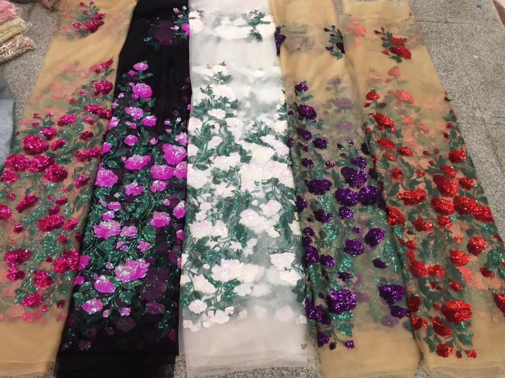 Unique gland conception africaine paillettes Net dentelle tissu haute qualité 2019 nigéria indien broderie Guipure maille or pailleté dentelle-in Dentelle from Maison & Animalerie    2