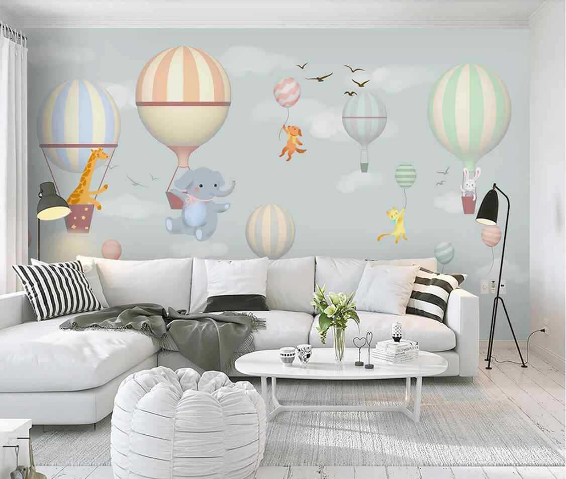 Children Room Hot Air Balloon Carton Wallpaper Murals 3D Mural Photo Wall Papers Elephant Rabbit Snow Canvas Contact Papers Roll