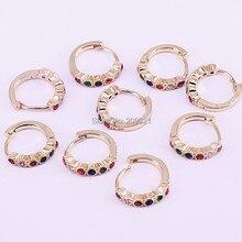 10 pares 13mm, New rainbow cor Micro pave cz círculo brinco de argola de ouro para as mulheres de jóias