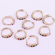 10Pairs 13mm, New gold color Micro pave rainbow cz circle hoop earring for women jewelry