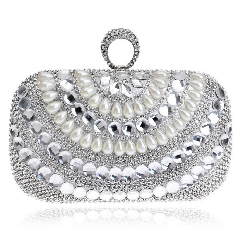 Finger Rings Clutch Bags Luxury Diamond Evening Bag Gold Silver Women Crystal Clutches Wedding Party Purse Chain Handbags W847