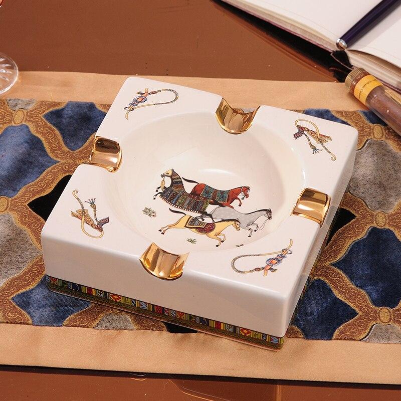 Cendrier de cigare en céramique or de luxe européen accessoires de Table à la maison déco patron papa mari hommes cadeau d'anniversaire en plein air cendrier de fumée