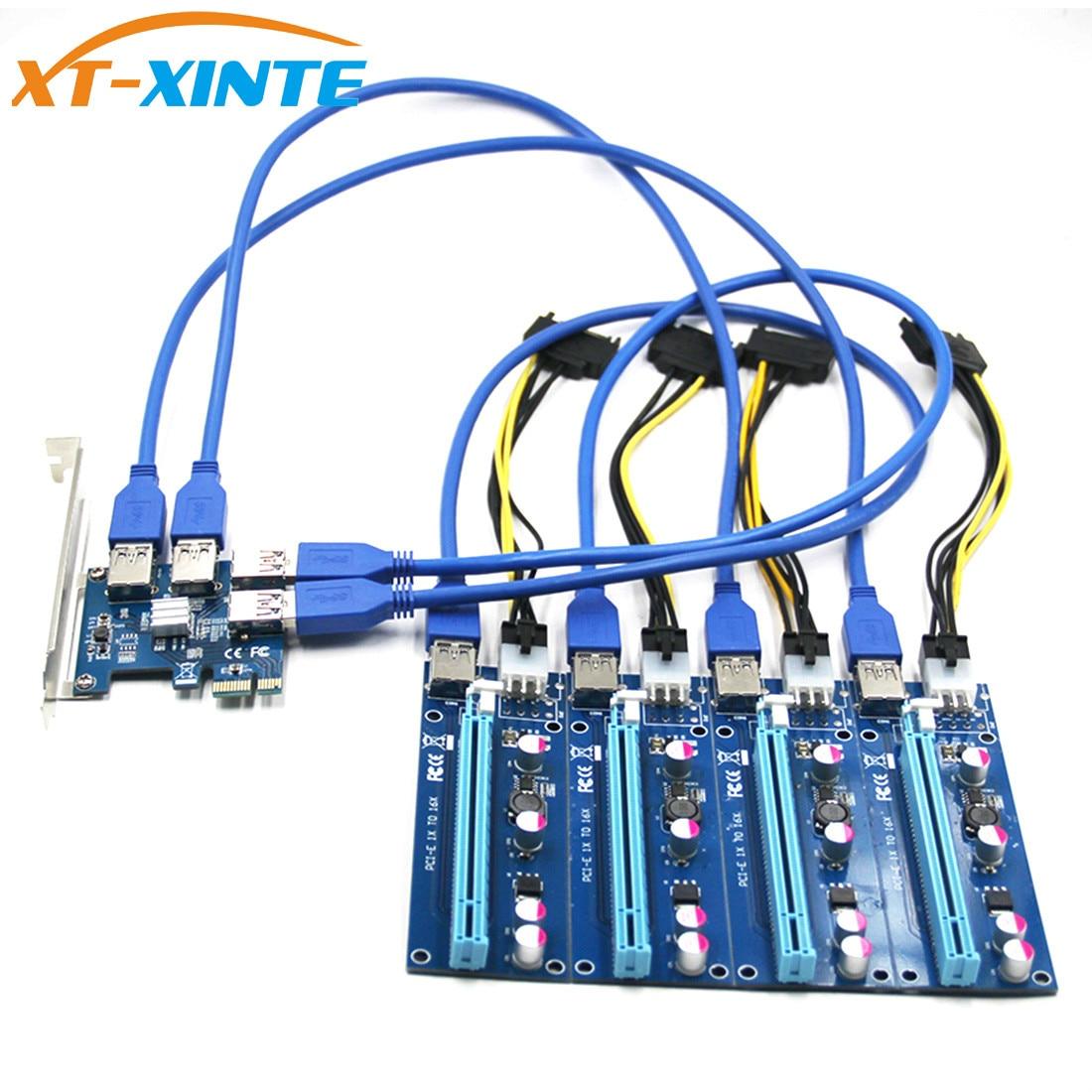 USB 3,0 PCI-E Express 1x a 16x extensor Riser tarjeta adaptador Pcie 1 a 4 USB convertidor gráficos tarjeta de vídeo para Miner BTC Litcoin