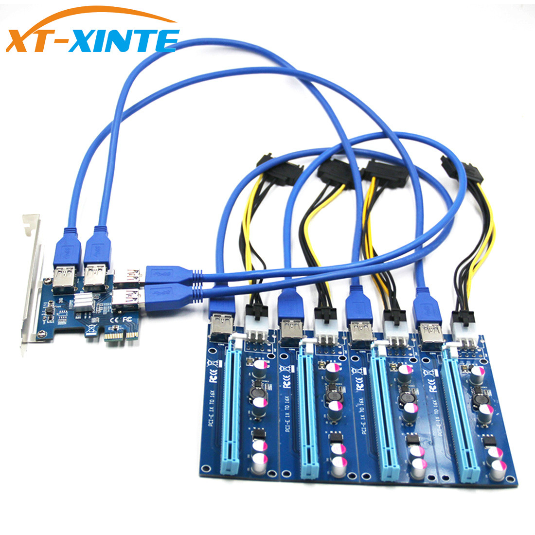 USB 3.0 PCI-E Express 1x to 16x Extender Riser Card Adapter Pcie 1 to 4 USB Convertor Graphics Video card for Miner BTC Litcoin цена и фото