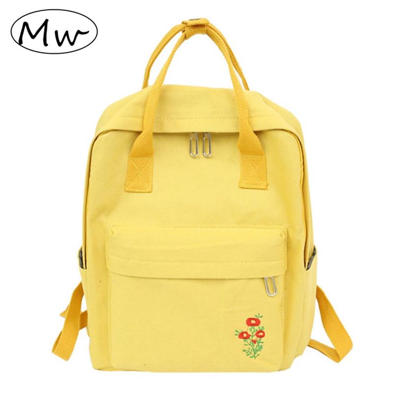 Moon Wood Korean Style Embroidery Flower Canvas Backpack Women Fresh Tote Backpack School Bags For Teenage Girls Laptop Bag