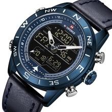 Новые NAVIFORCE брендовые модные синие мужские спортивные светодио дный светодиодные аналоговые цифровые часы армейские военные кожаные кварцевые часы Relogio Masculino