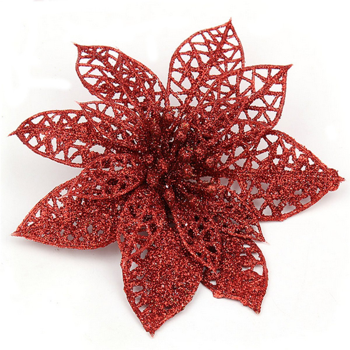 HOT SALE Decoration for Christmas Tree - elegant 13cm Sequin Flowers Suspended with Christmas tree - indispensable decorations
