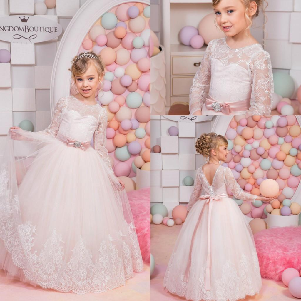 2016 Cute Ball Gown Flower Girls' Dress Sheer Crew Neck Puffy Long Sleeves Button Back Long Kid's Formal Wear with Belt FD95