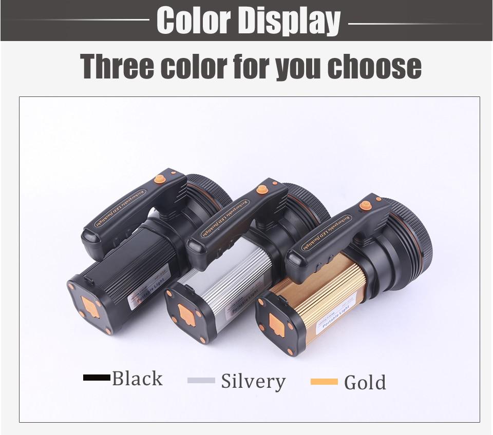 HTB1vxj1aDHuK1RkSndVq6xVwpXag - Super Bright LED Portable Light(Built-in 9000mA li-ion Battery)+USB Chaging cable+ Shoulder Strap Black/Silver/Gold Color Option