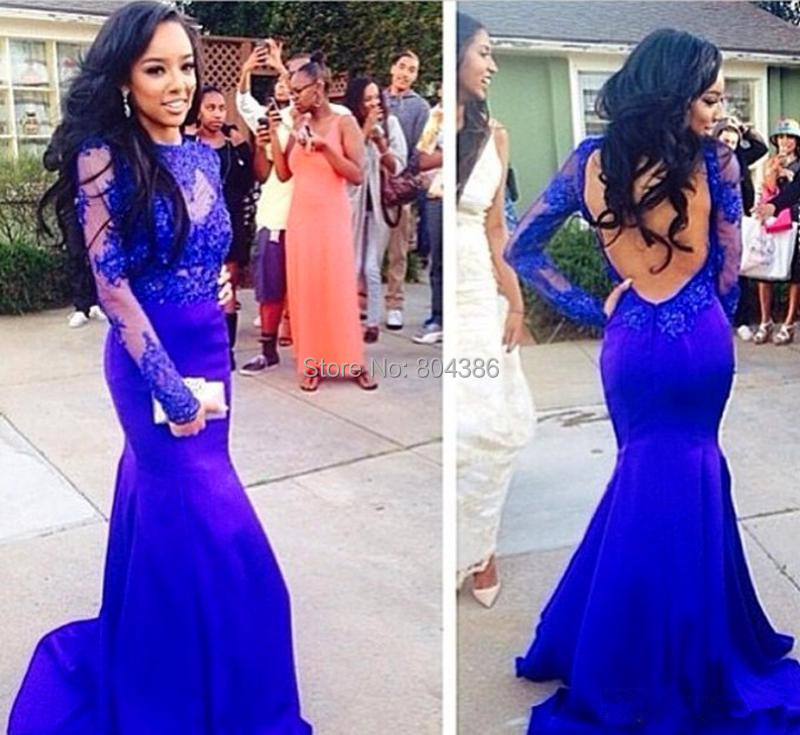2015 New Fashion <font><b>Sex</b></font> Prom <font><b>Evening</b></font> Gown Long Sleeves Blue Appliques Long Mermaid <font><b>Evening</b></font> <font><b>Dresses</b></font> image