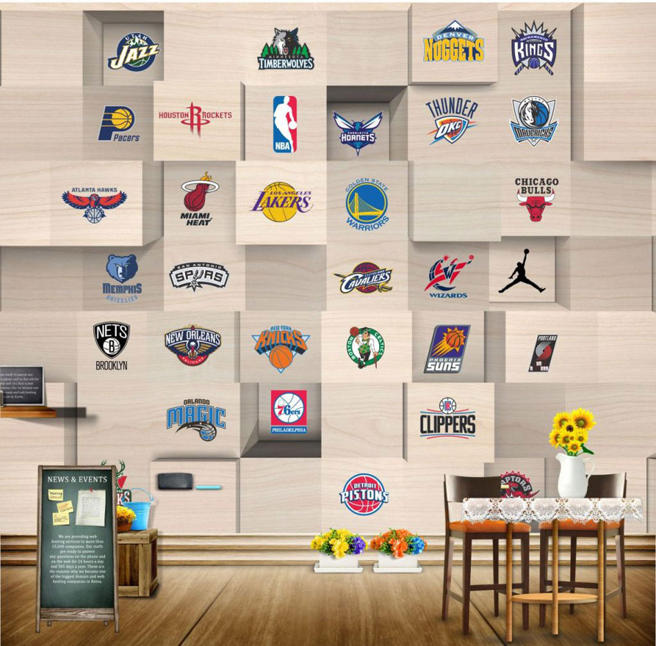 Bacaz Stereo Wood Diamonds Sports Logo Basketball Wallpaper Mural For Living Room Background 3D Photo Mural Wall Paper Stickers