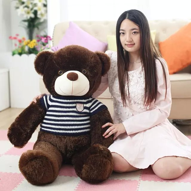 large 100cm brown bear plush toy blue stripes sweater teddy bear throw pillow birthday gift h990 usa flag teddy bear plush toy brown bear doll large 75cm soft throw pillow valentine s day present birthday gift w5462