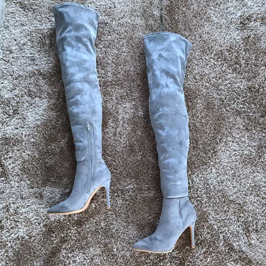 Yeni Uyluk Yüksek Kadın Botları 10.5 CM Yüksek Topuk Kış Ayakkabı Kadın Deri Diz Çizmeler Üzerinde Bayan Serseri Çizme siyah Elbise Ayakkabı