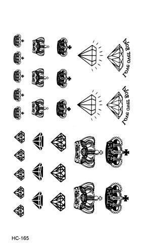 HC1165 Waterproof Fake Tattoo Stickers Black Fast Tattoo Little Diamonds And Crowns Water Transfer Temporary Tattoos Sticker