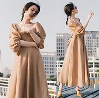 Le Palais Vintage Palace Maxi Long Dress Off Shoulder Latern Sleeve Women Ladies Dress Square Collar Party Vestido De Festa