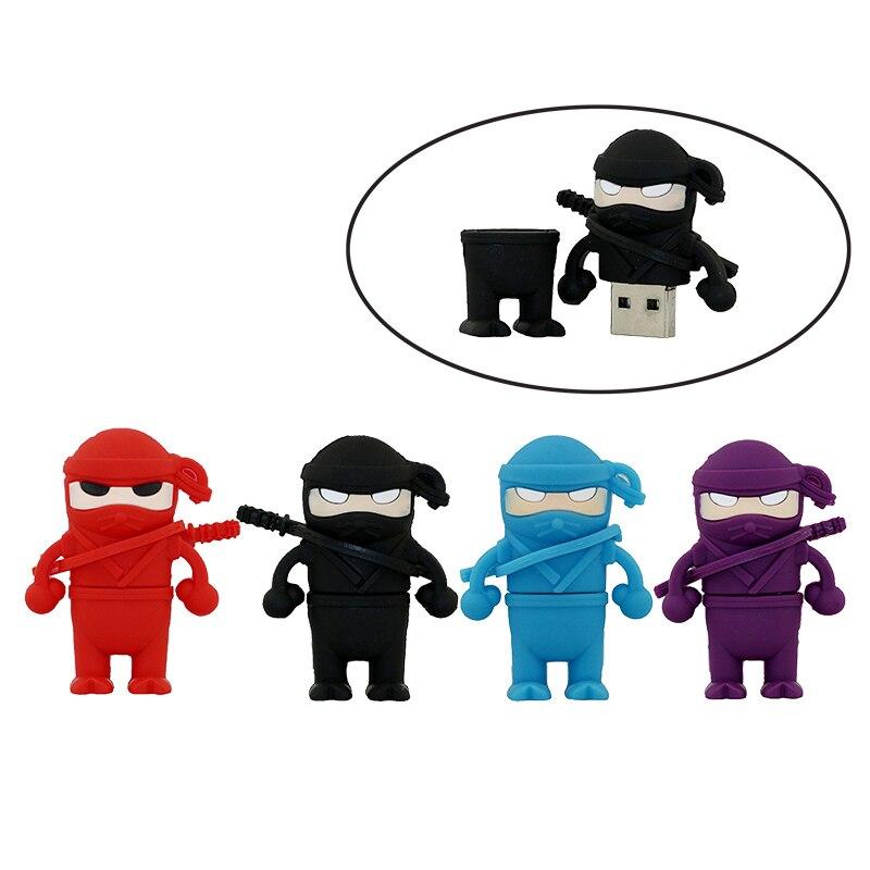 Funny Ninja USB 2.0 Flash Drive 64GB Cartoon Pen Drive 32GB Anime Memory Stick 4GB 8GB 16GB Cute Pendrive Flash Disk Cool Gifts