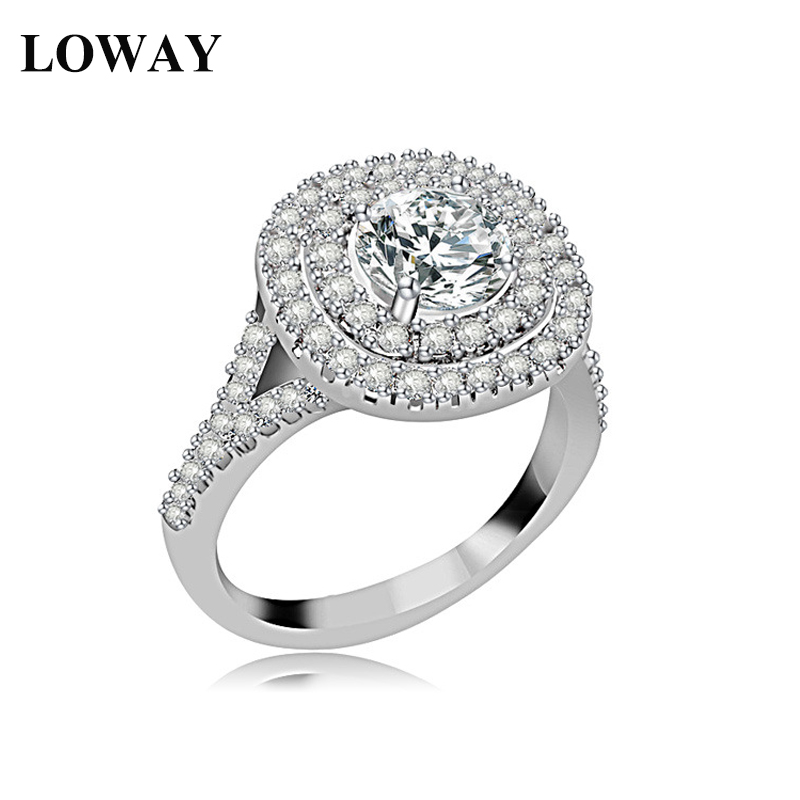 LOWAY Ring Big White Round Stone Vintage AAA+ Cubic Zirconia Platinum Plated Rtro Jewelry Women JZ5817  -  Factory Store store