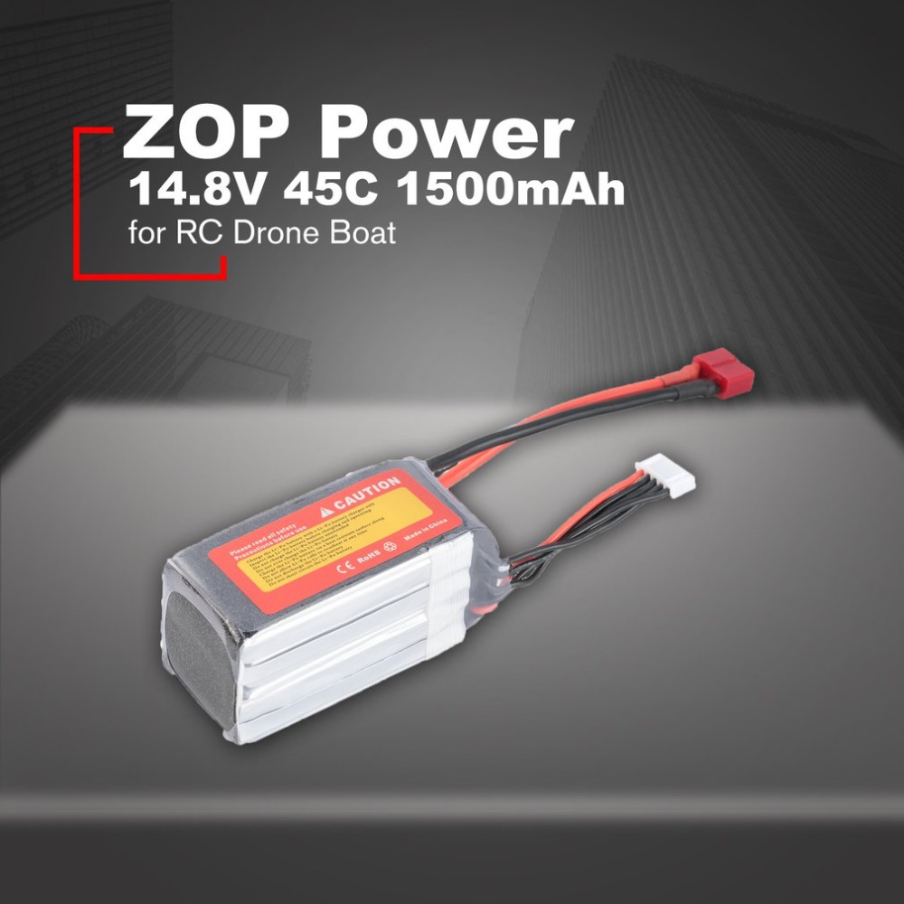 ZOP Power 14.8V <font><b>1500mAh</b></font> 45C <font><b>4S</b></font> 1P <font><b>Lipo</b></font> Battery T Plug Rechargeable for RC Racing Drone Quadcopter Helicopter Car Boat image