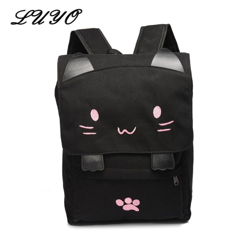 Cute Cat Canvas Backpack Schoolbag Cartoon Embroidery Backpacks For Teenage Girls Printing Rucksack Mochila Feminina Bagpack