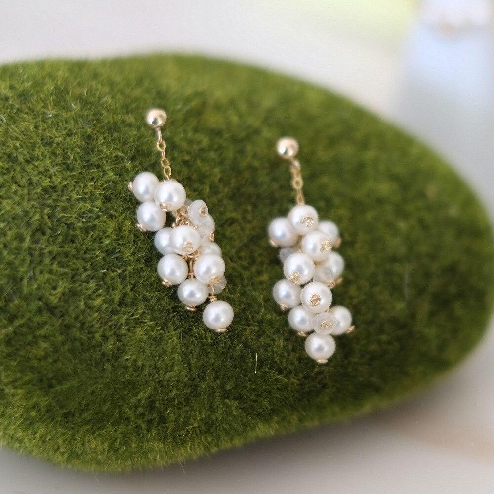 LiiJi Unique AAA 3-4mm Nearround perle d'eau douce boucles d'oreilles 925 en argent Sterling couleur or boucle d'oreille bijoux de mode