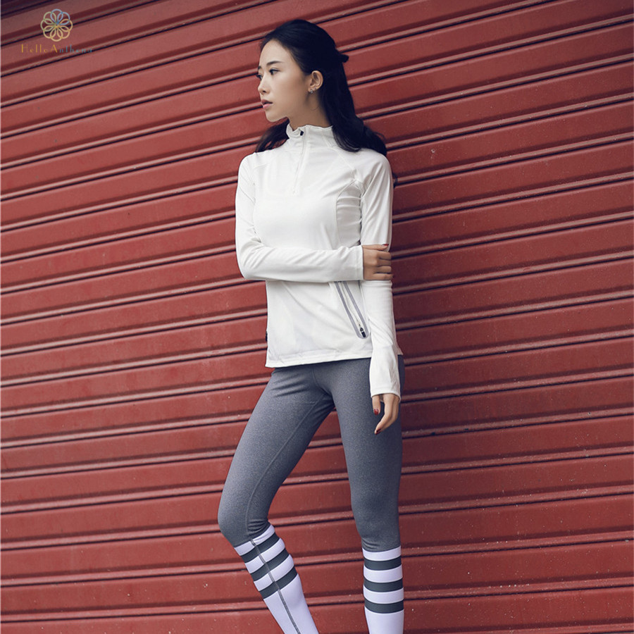 b7d8f38749ee7 Hello Anthena Women s Solid Color Slim Jacket Coat With Pre Pocket Semi  Zipper Reflective Stripe Running Outerwear Fitness Yoga-in Running Jackets  from ...
