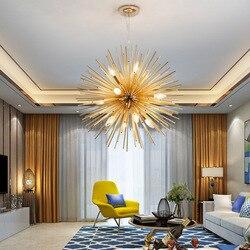 Nordic artystyczne LED aluminium dmuchawiec żyrandol złote lampy wiszące dekoracyjne oprawa oświetleniowa Led światła do domu
