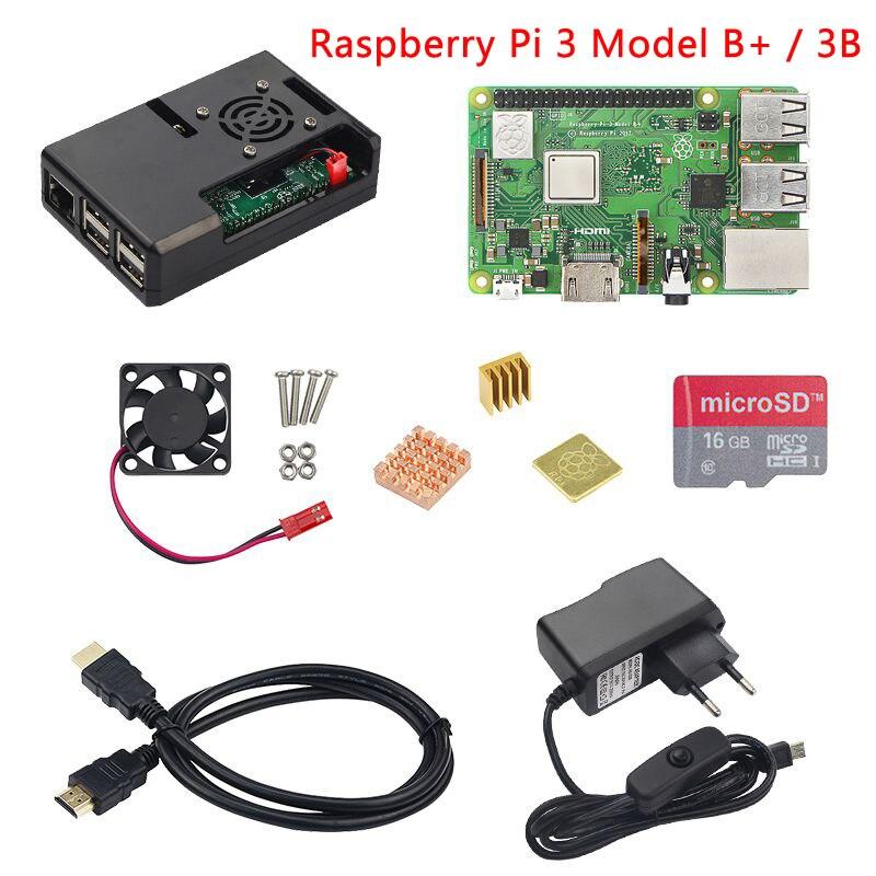 Raspberry Pi 3 Модель B + (B плюс) starter kit Raspberry Pi 3 Модель B + ABS чехол + вентилятор + SD карта + радиатор + Мощность адаптер + кабель HDMI
