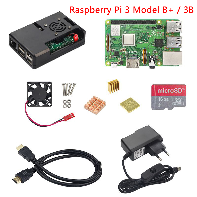Raspberry Pi 3 Modello B + (B Plus) starter kit Raspberry Pi 3 Modello B + Custodia in ABS + Ventola + SD Card + Dissipatore di Calore + Power adattatore + Cavo HDMI
