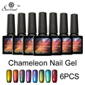 Saviland 6pcs UV Nail Gel Chameleon Phantom Mood Change Polish Soak Off Varnish Color Changing Glitter Esmalte Primer