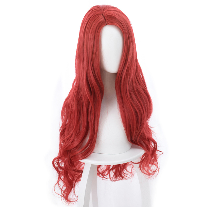 Aquaman Mera Cosplay Wig American Anime Movie 85cm Long Curly Wavy Heat Resistant Synthetic Hair Women Costume Party Wig Red