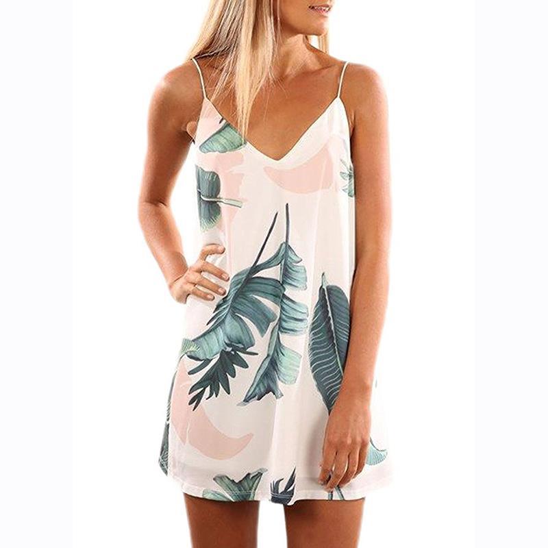 Sexy Woman Vestidos Summer Dresses V Neck Spaghetti Strap -3713