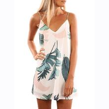 Sexy Woman Vestidos Summer Dresses V-Neck Spaghetti Strap  Sleeveless Printed Summer Beach Wear Female Vestidos Dress
