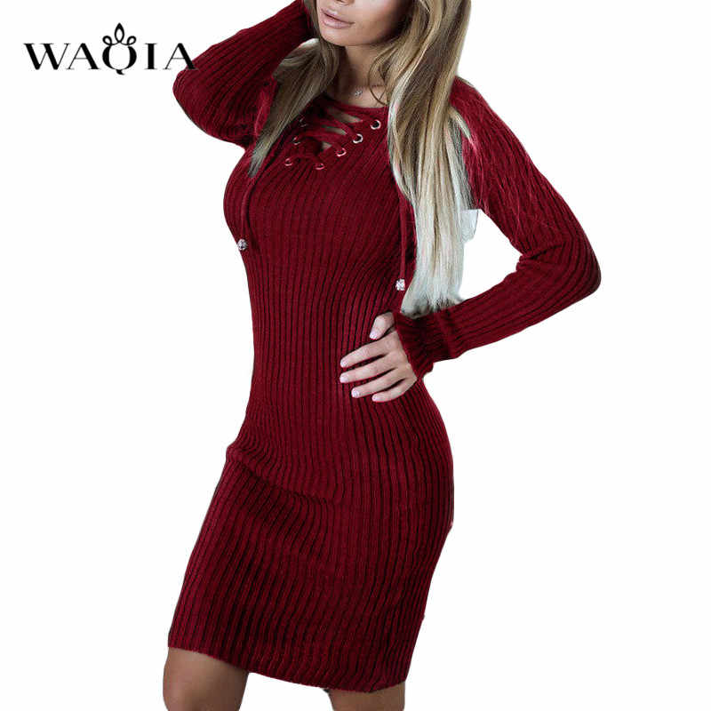 11d2681b2289 2018 New Autumn Winter Warm Sweater Dress Women Sexy V-neck Slim Bodycon Dress  Female