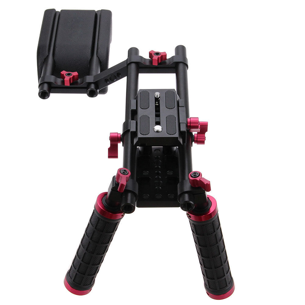 CAMVATE Pro DSLR Shoulder Mount Support Rig Kit Dual Handgrip adjustable baseplate High Riser for Camera Camcorder f14123 commlite cs v1aluminum alloy handgrip holder dslr shoulder mount rig camera stabilizer dslr rig easy for shooting camera