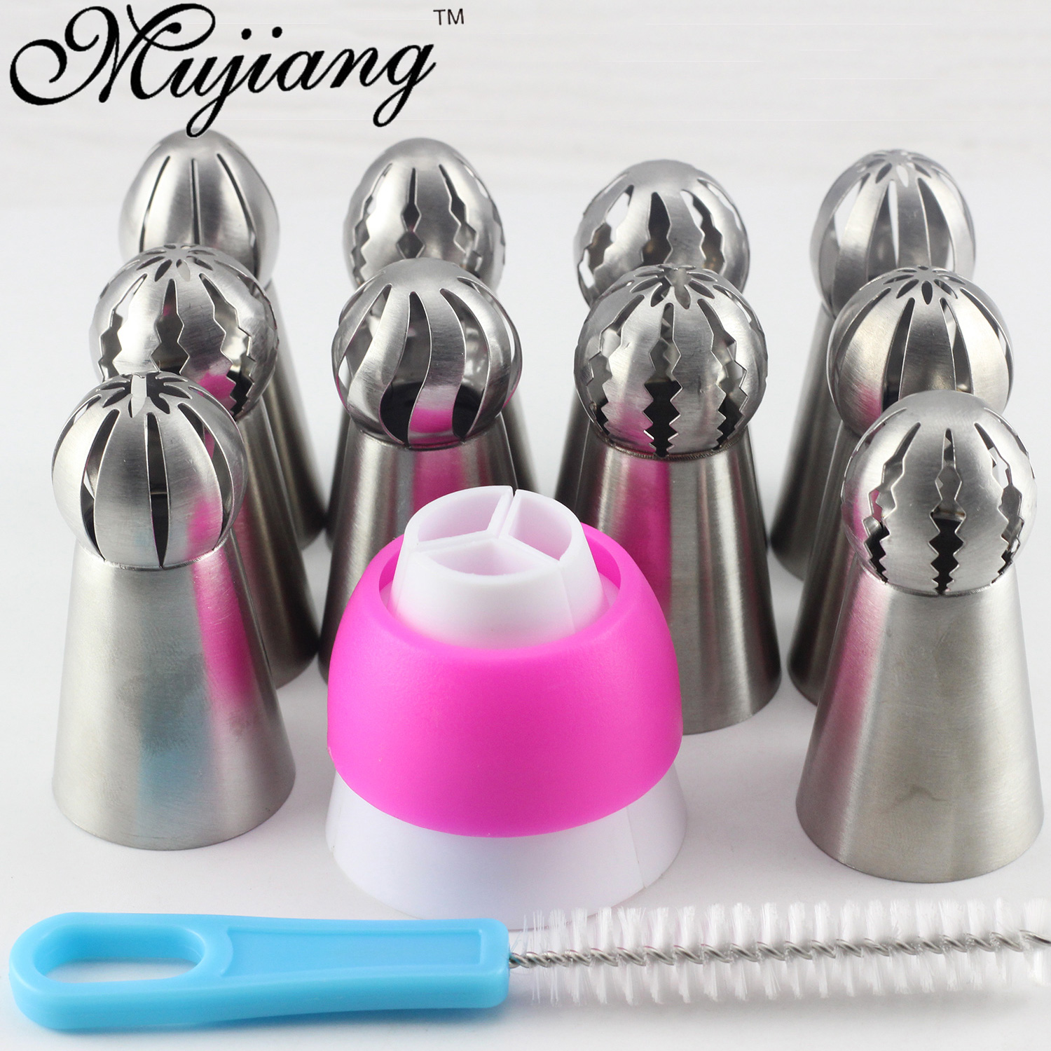 Mujiang 12Pcs Russian Pastry Tips Sphere Ball Icing Piping Nozzles Stainless Steel Cream Cupcake Baking Cake Decorating Tools