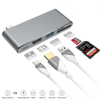 Basix Type C USB 3.1 Hub Adapter USB C HUB To 4K Hdmi USB 3.0 USB C Charging Port with SD TFcard Reader Adapter for Mac Pro