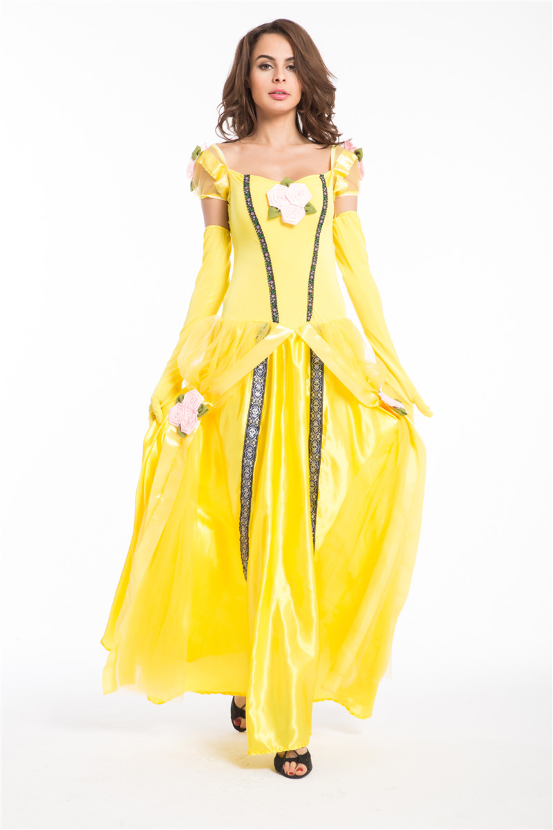 Free shipping Deluxe Belle Costume Ladies Cosplay Princess ...