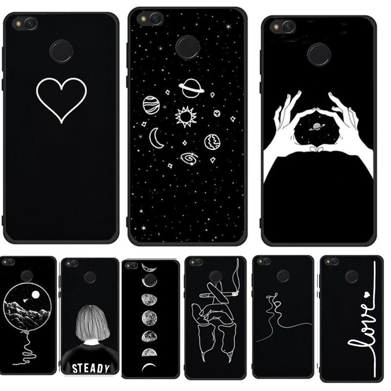 Case For Xiaomi Redmi 4X Cover Soft Black White Artistic Abstract Line Phone Case For Xiomi Mi A1 Redmi 4A 4X Note4 5A Coque