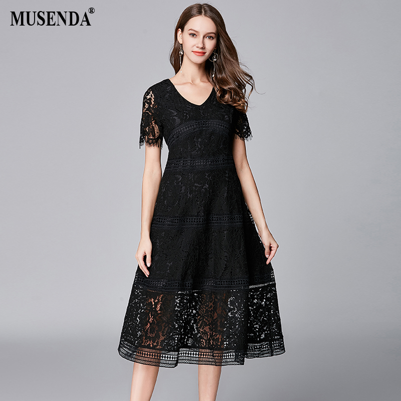 MUSENDA Plus Size Women Black Hollow Out Lace V-Neck Short Sleeve Midi Dress New 2018 Summer Sundress Ladies Vintage Party Dress