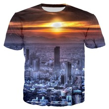 PLstar Cosmos 2018 Summer Men/Women 3d Print Tokyo City Sunrise Tshirt Unisex Casual Tops Plus Size 7XL Drop Shipping