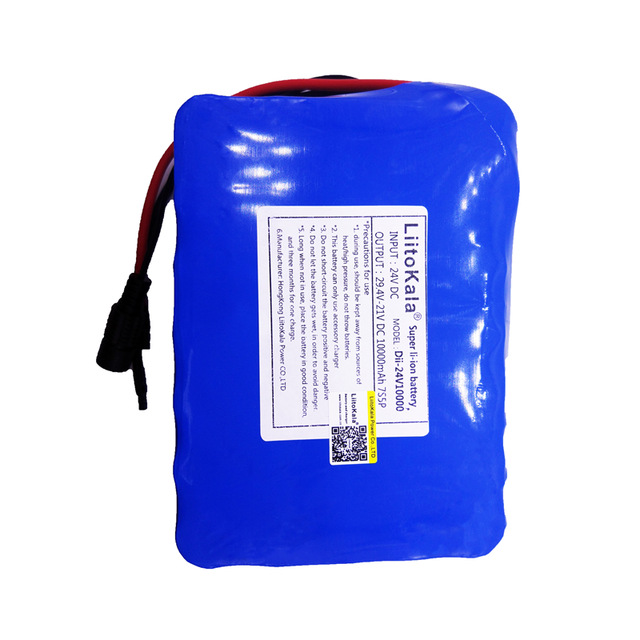 HK LiitoKala 24V 10Ah 7S5P 18650 <font><b>Battery</b></font> <font><b>li</b></font>-<font><b>ion</b></font> <font><b>battery</b></font> <font><b>29.4v</b></font> 8000mAh electric bicycle <font><b>li</b></font>-<font><b>ion</b></font> wheelchair <font><b>battery</b></font> pack for 250w image