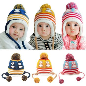 Winter Knitted Warm Hat Baby Hat Toddler Girls Boys Turbna Cartoon Infant Winter Knit Beanie Hat Crochet Ball Cap