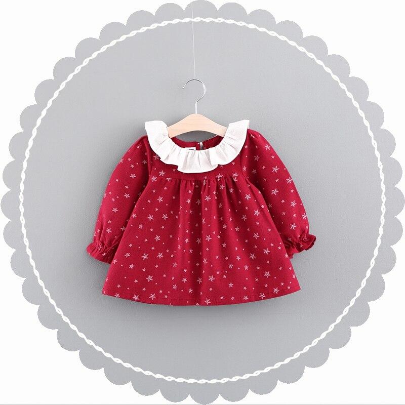 Girls Blouse Dress 2017 Autumn Brand Baby Girls Stars Pattern Printed Kids Ruffles Shirts Children Clothing Dress 0-2 Years